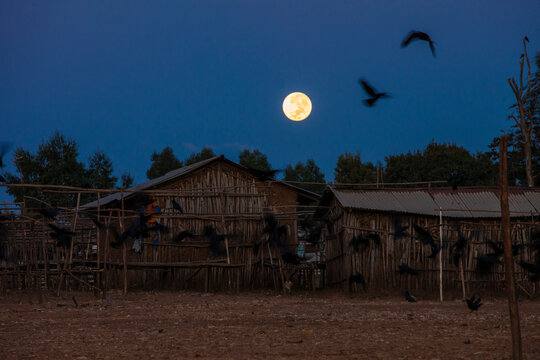 The moon sets at night over traditional stick houses in a remote Ethiopian village.