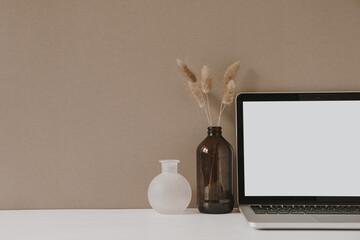 Blank screen laptop. Home office desk table workspace with fluffy plant in bottle on pastel beige background. Copy space mockup blog, website template. Blogger, outsourcing freelancer hero header.