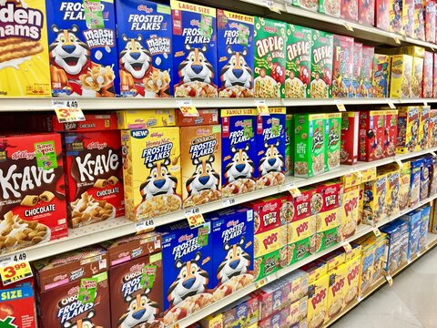 Cereal aisle at an american grocery store