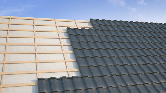 Montage steel tiles on the roof. 3d illustration