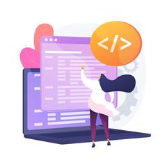 Custom style script. Website optimization, coding, software development. Female programmeer cartoon character working, adding JavaScript, CSS code. Vector isolated concept metaphor illustration