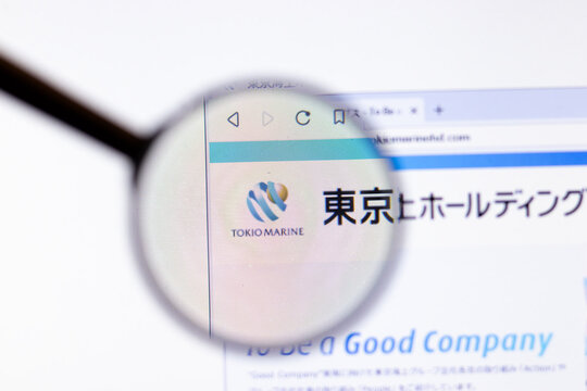 Los Angeles, California, USA - 20 March 2020: Tokio Marine Holdings company logo on website page close-up on screen, Illustrative Editorial