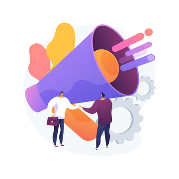 Relationship marketing abstract concept vector illustration. Customer relationship strategy, focus on consumer loyalty, brand interaction and long-term engagement, social media abstract metaphor.