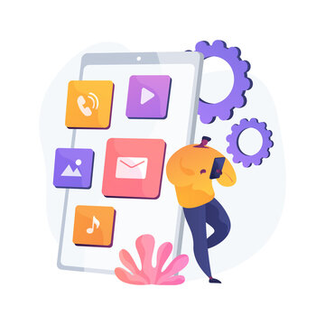 Native mobile app abstract concept vector illustration. Smartphone application, programming language, operating system, online store, marketplace, web browser, software abstract metaphor.