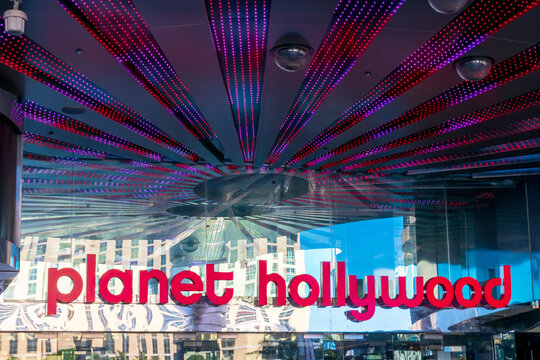 Planet Hollywood sign above the entrance to a luxury hotel and casino located the Las Vegas Strip - Las Vegas, Nevada, USA - 2020