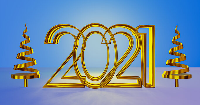 Happy new year 2021 with 3D rendering background.