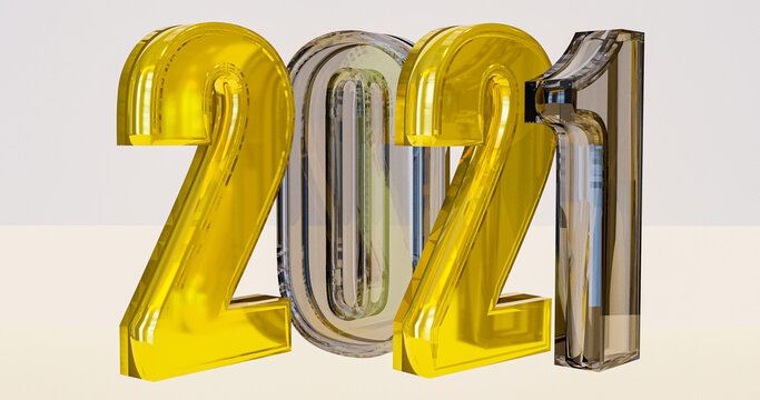 3D rendering text number 2021 for your christmas and New year.