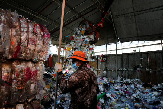 A man works at a recycling center in Goyang