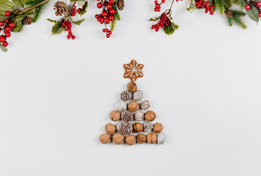 Decorative Christmas spirit flat lay background