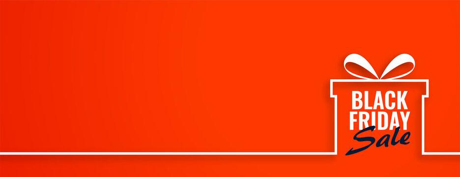 Black friday sale gift on orange web banner