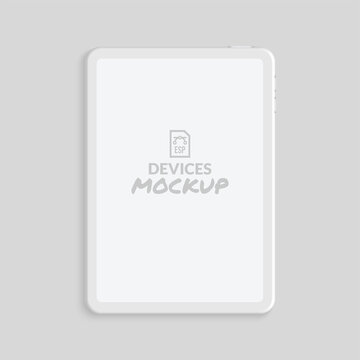 Minimal clay render tablet mockup with blank screen