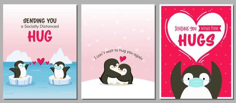 Set of love and hug themed card designs with cute penguins. Adorable penguins wearing masks. For Valentine's day cards, posters, banners, flyers, etc.