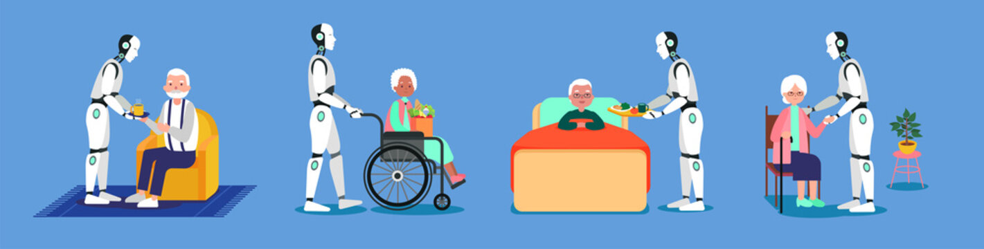 Illustration of sci fi robot he supports pensioners in different activities in blue background.