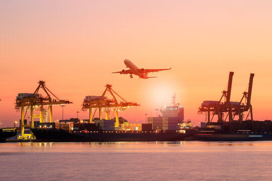 shipping boat and cargo plane flying against beautiful sky