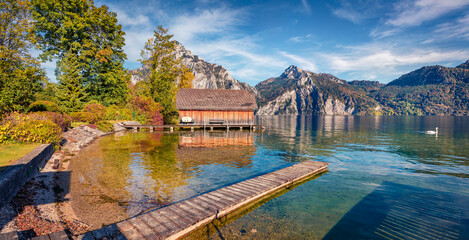 Captivating morning view of Traunsee lake with wooden pier and white swan. Wonderful autumn scene of Austrian alps, Europe. Traveling concept background.
