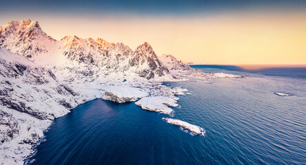 View from flying drone of southernmost of Lofoten islands town, with exotic name -