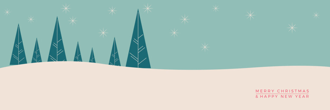 Christmas. Abstract vector illustration, printable card. Winter landscape background.