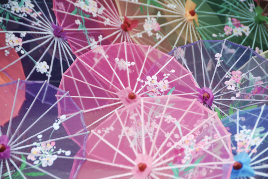 pattern with colorful chinese umbrellas or parasols