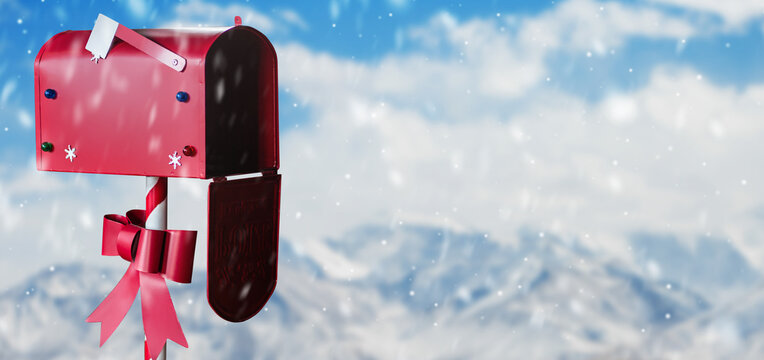 Christmas decorated mailbox for letters to Santa Claus. Santa's box in the snow