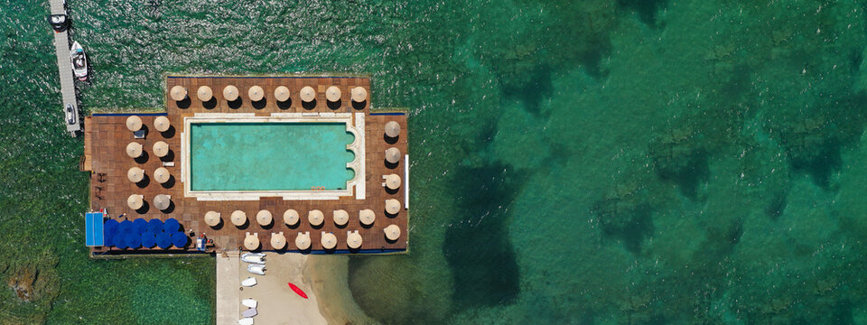 Aerial drone top view photo of large pool located in Lagonisi, Athens riviera, Attica, Greece