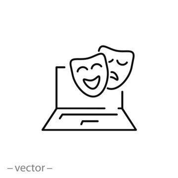 online theatre watching icon, theatrical masks on computer, cinema or opera presentation, thin line symbol on white background - editable stroke vector illustration eps 10