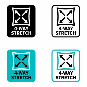 """""""4-way stretch"""" synthetic fabric property, information sign"""