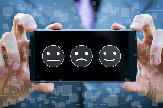 Customer service evaluation and satisfaction survey concepts. Mobile client satisfaction.
