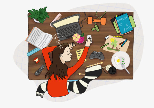 This illustration demonstrates home desk as a workspace, and also a range of activities we can do at home.  Multitasking is part of our daily life.
