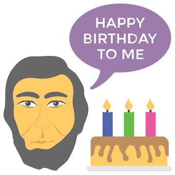 Abraham lincoln's avatar with happy birthday text and cake with candles is describing american legal holiday of lincoln's day