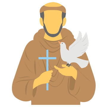 Human avtar of st francis of assisi with dove in one hand and cross in the other is describing christians celebration of feast of st francis of assisi
