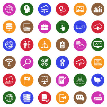 Information Technology Icons. White Flat Design In Circle. Vector Illustration.
