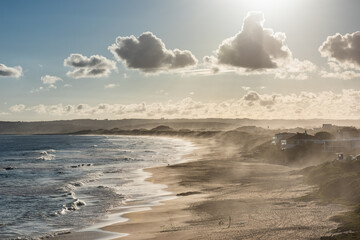 Fototapeta Keurboomstrand Beach in Late Afternoon Light and Ocean Mist, South Africa