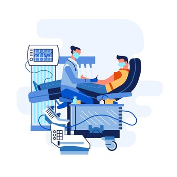 Patient on doctor appointment, vector illustration