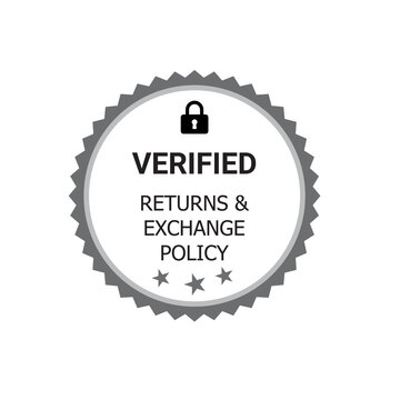 Verified Returns & Exchange policy badge,  Returns policy logo design, verified logo, verified icon