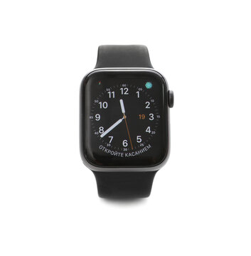 MYKOLAIV, UKRAINE - SEPTEMBER 19, 2019: Apple Watch with analog clock face skin on screen against white background