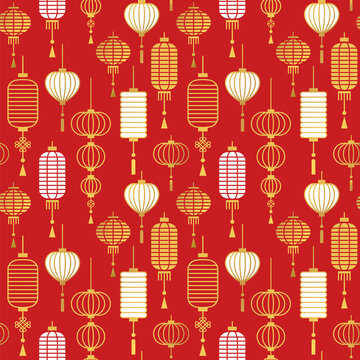 Red Gold chinese lantern outline seamless pattern