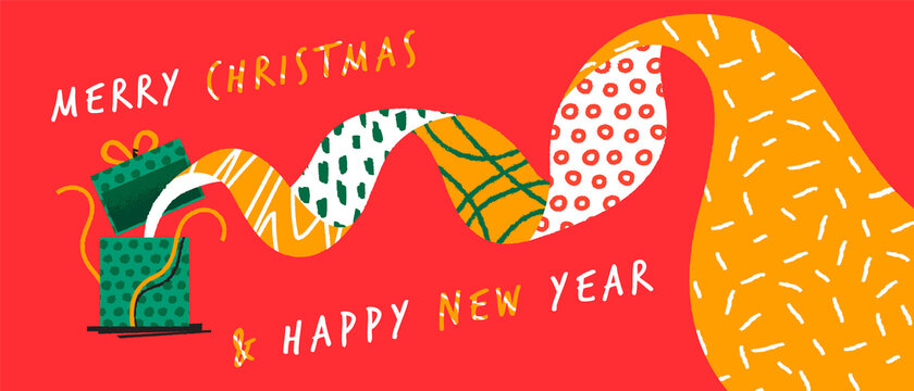 Christmas New Year open gift box cartoon banner