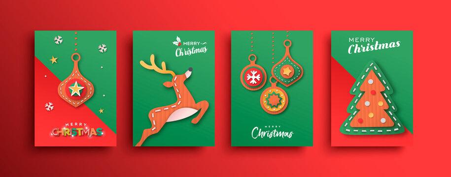 Merry Christmas papercut deer ornament card set