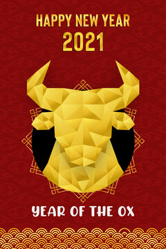 Chinese New Year Ox 2021 gold low poly card