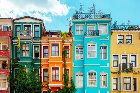 Colourful houses in Balat, Istanbul