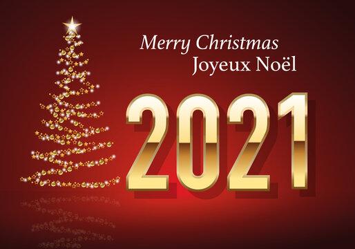 Carte de vœux 2021 au design classique sur fond rouge, avec le traditionnelle sapin de noël, fait avec une guirlande dorée pour souhaiter un joyeux noël.