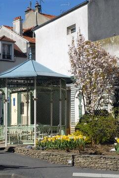 Ville de Nogent-sur-Marne, tonnelle et massif de tulipes jaunes en centre ville, département du Val de Marne, France