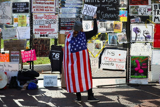 People gather after Election Day in Washington