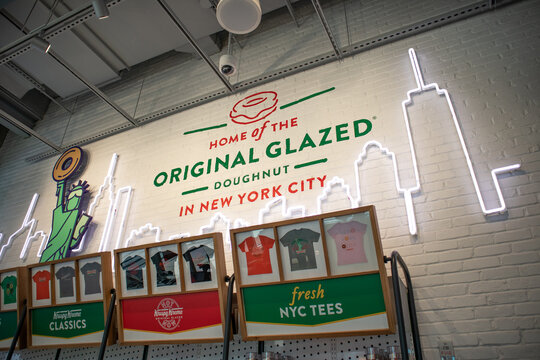 Times Square Krispy Kreme Flagship Location Interior Sign in Midtown Manhattan on September 18, 2020 in New York, New York