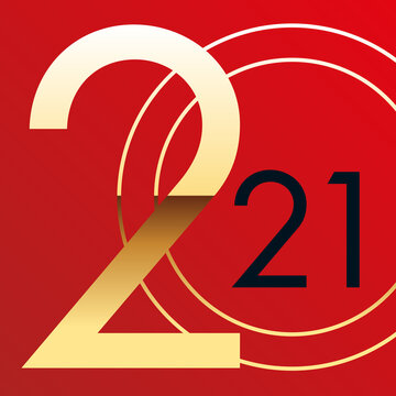 Concept graphique pour une carte de vœux élégante et tendance, avec l'année 2021 qui s'inscrit en doré sur un fond rouge.
