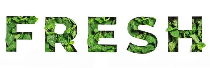 Lettering of English word fresh made of green natural leaves and cut paper isolated on white. Menthol font  - fototapety na wymiar