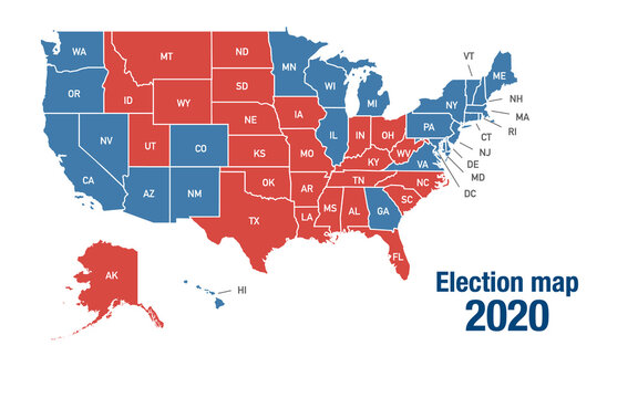 Map of 2020 USA presidential elections results