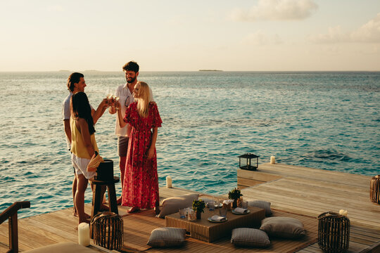 Friends on a luxury holiday
