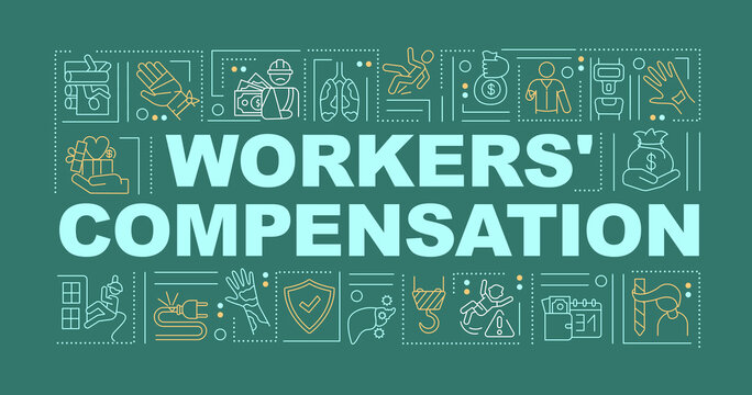 Workers compensation program word concepts banner. Protection employer legal right. Infographics with linear icons on dark green background. Isolated typography. Vector outline RGB color illustration