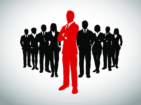Leader in front of his large team of successful executives. A large team of successful executives in silhouettes led by a great  bold, daring leader in red who stands in front of them.